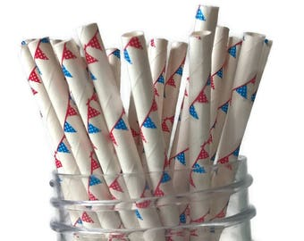 patriotic pennant straws, red white and blue, pennants, 4th of July, Independence Day, Memorial Day, summer picnic decorations, party ideas