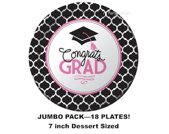 Graduation School Spirit 7 Inch Paper Plates Orange 18 Pack