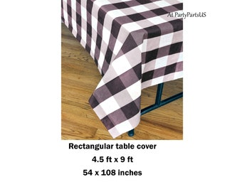 Black Gingham Tablecloth, Black And White Plaid Table Cover, Graduation  Party Tableware, Summer Picnic Decorations, Fathers Day Barbecue