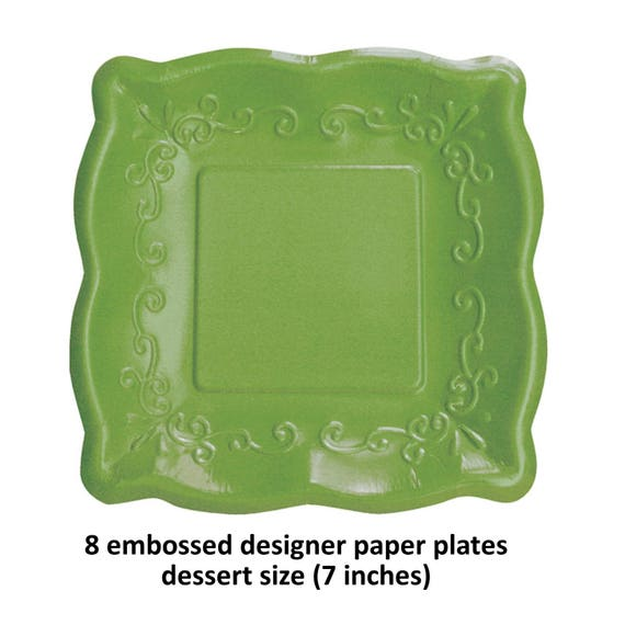 Fancy Green Paper Plates Spring Wedding Dessert Table Bridal