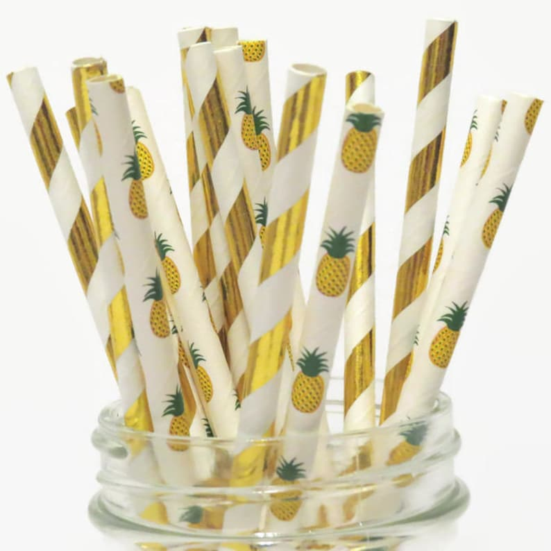 Gold Pineapple Straws Mix Pineapples Party Decorations Luau image 0