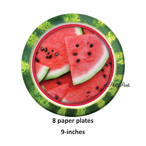 Watermelon Plates, Lunch Plates, Paper Tableware, Summer