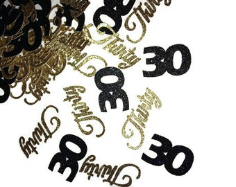 30th birthday confetti, number 30 decorations, 30th anniversary party decor, flirty thirty
