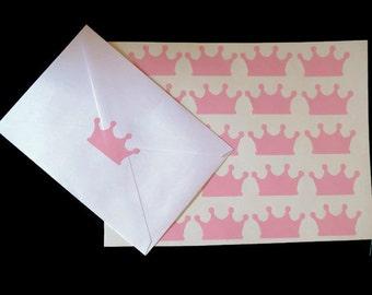 pink princess crown stickers, vinyl decals, 20CT, envelope seals, cup decals, plate stickers, princess party decorations, diva, queen, royal