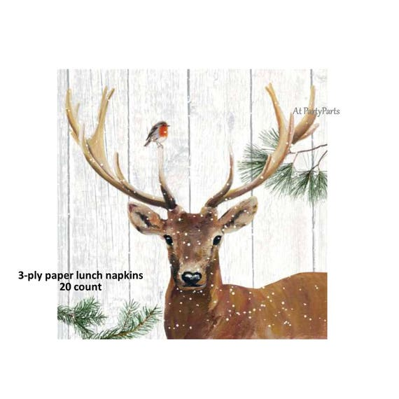 Deer Napkins Winter Buck Antlers Christmas Tableware Rustic