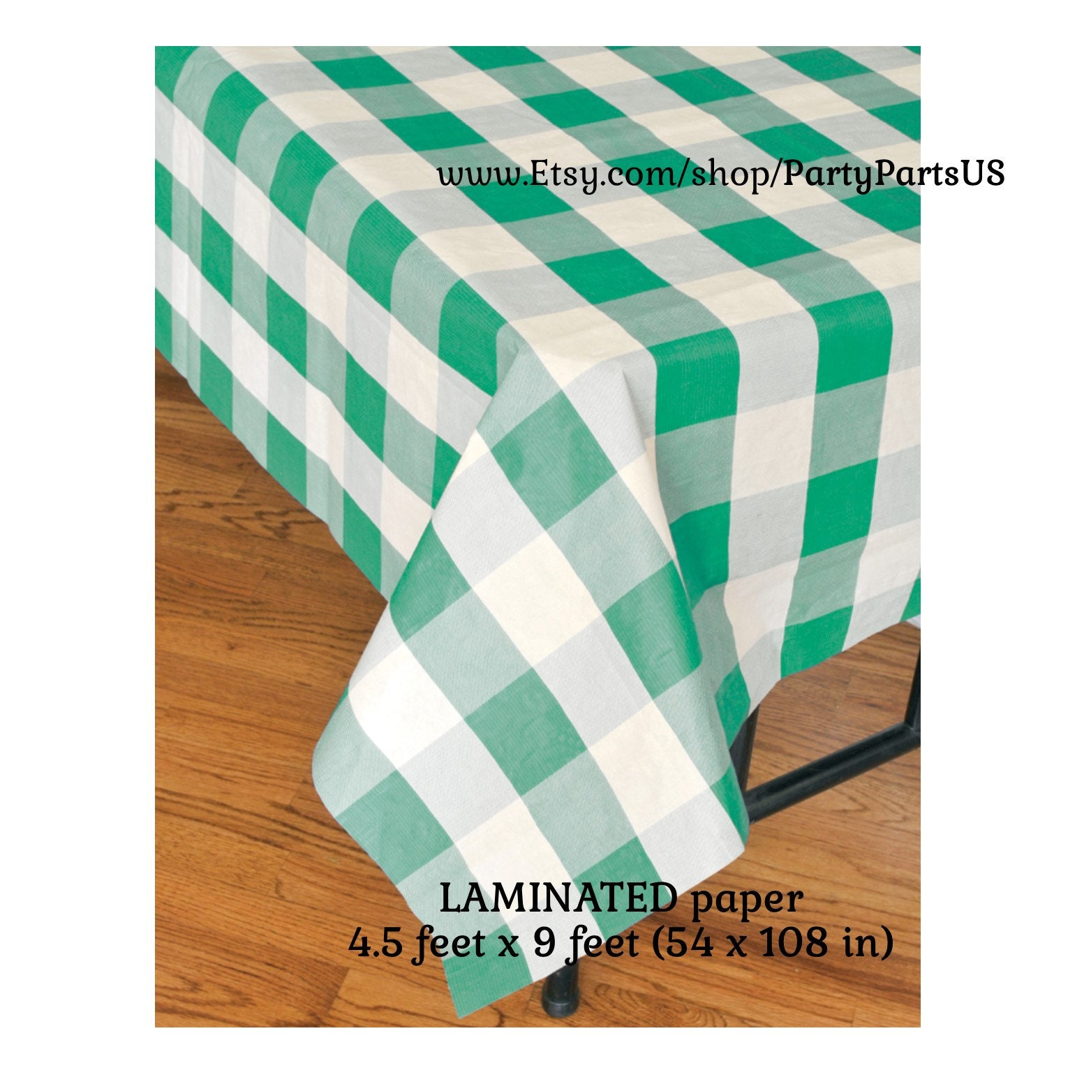 green gingham table cover plaid tablecloth picnic supplies | Etsy
