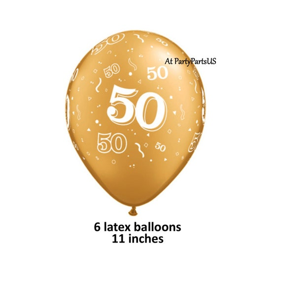 50th Golden Anniversary Balloons Gold Number 50