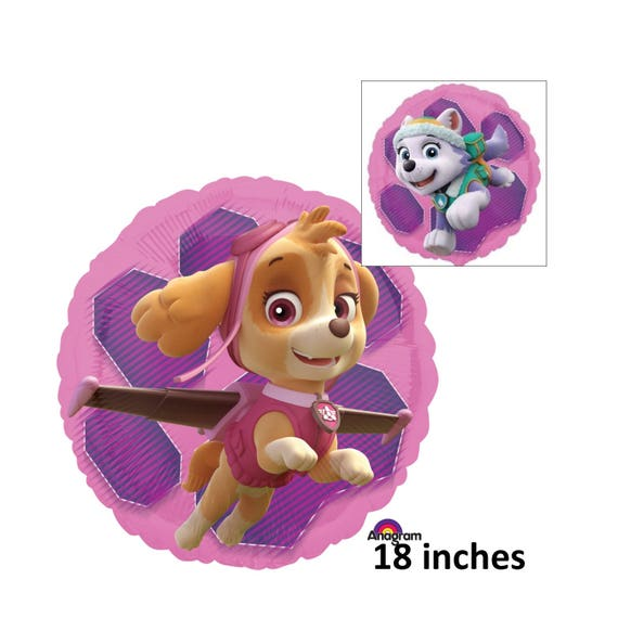 Paw Patrol Skye And Everest Balloon Childrens Birthday Decorations Party Supplies Pink Purple Girls Dogs Puppies Kids Pets Helium