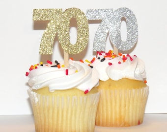 70th birthday cupcake toppers, 70 anniversary party decorations, silver and gold, seventy, seventieth, 12CT