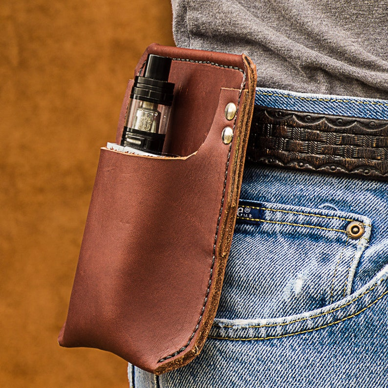Large Vape Case, Leather Vape Holster, Made in USA, e-cig case, e-cig  storage, e-cigarette holder, e-cig pouch, Leather Vape Case