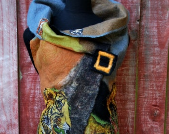 Call of the Wild'  Designer NZ Merino long Vest/Coat with an animal theme. Stand out from the crowd. Reversible