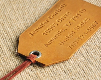 Personalized Leather Luggage Tag, Custom Leather Tag, Engraved Message, Personalized Luggage Tag, Personalized Valentine's Gift, Travel Gift