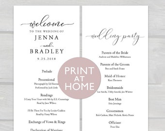 Printable Wedding Ceremony Program Template | 4.25x11 Editable PDF Instant Download | Tall Long Double-sided Welcome Program Card