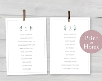 5x7 Wedding Seating Chart PDF Template Printable Instant Download Editable Hanging Cards Table Assignments Green Leaves Leaf