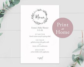 Baby Shower Menu Editable Template 4x6 Instant Download PDF Printable Kraft Paper Rustic Bridal Wedding Rehearsal Dinner