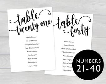 5x7 Printable Wedding Seating Chart Cards Tables 21-40 Template PDF, Instant Download, Editable Hanging Seating Cards Table assignments