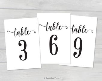 Black Table Numbers Printable, Wedding Table Numbers 1-50 | 4x6, 5x7, 2.5x3.5 | Instant Download PDF | Printable Table Number Template
