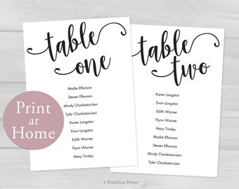 5x7 Wedding Seating Chart Cards Printable Tables 1 20 Template PDF Instant Download Editable Table Assignment Guest Names