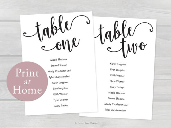 4x6 printable wedding seating chart cards tables 1 20 etsy