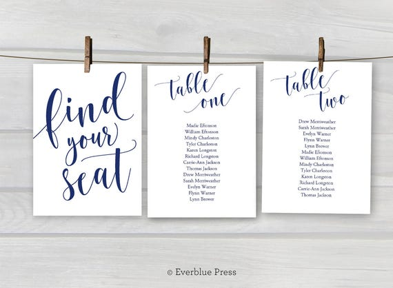 5x7 Wedding Seating Chart Cards Printable Tables 1 20 Navy