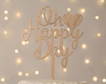 Oh Happy Day Wedding Cake Topper, Wedding Cake Topper, Cake Topper, Custom Cake Topper, Script Cake Topper, Rose Gold Wedding Cake Topper