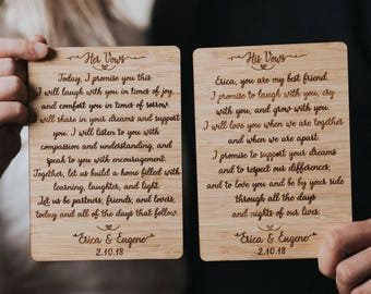 Engraved vows etsy personalized wedding vows set of 2 custom wedding vows wedding vows wedding gift unique wedding gift wedding vow keepsake etched vow junglespirit Images