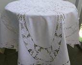 Exquisite Madeira Embroidered Vintage Tablecloth Natural Linen High Tea or Gift Idea 49x 47 quot