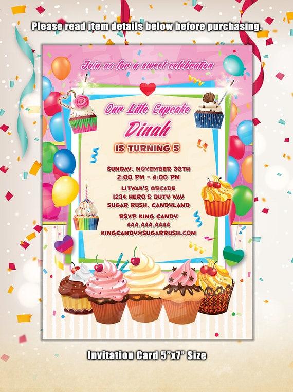 Cupcake Invitation Cupcake Decorating Party Invites Cupcake Etsy