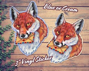 "3"" Hand-drawn Mail Fox Vinyl Sticker ~ Watercolor Wildlife Art ~ Red Fox ~ Snail Mail ~ Postal Art"