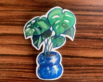 "3.5"" Monstera Houseplant Sticker - Cut Vinyl Stickers - Die Cut Sticker - Potted Plant - Botanical Scrapbook Sticker"