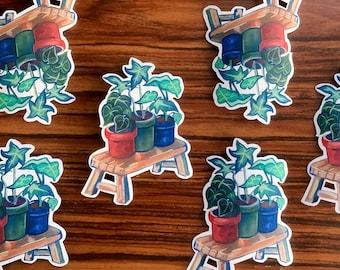 """3.5"""" Potted Houseplant Sticker - Cut Vinyl Stickers - Die Cut Sticker - Botanical Scrapbook Sticker - Journal Stickers"""