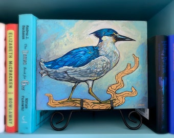 Blue and Gold Bird Painting