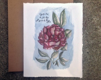 Watercolor Peony - You Are Lovely - Blank Inside Card