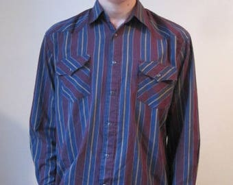VINTAGE SASSON Shirt Mens M Medium Pearl Snap Button Striped Western