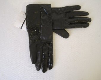 15b17b6b2fd RENEE S NYC Gloves Size 8 Ladies Womens Mademoiselle Black Leather Viscose Vintage  Retro New NWT E999