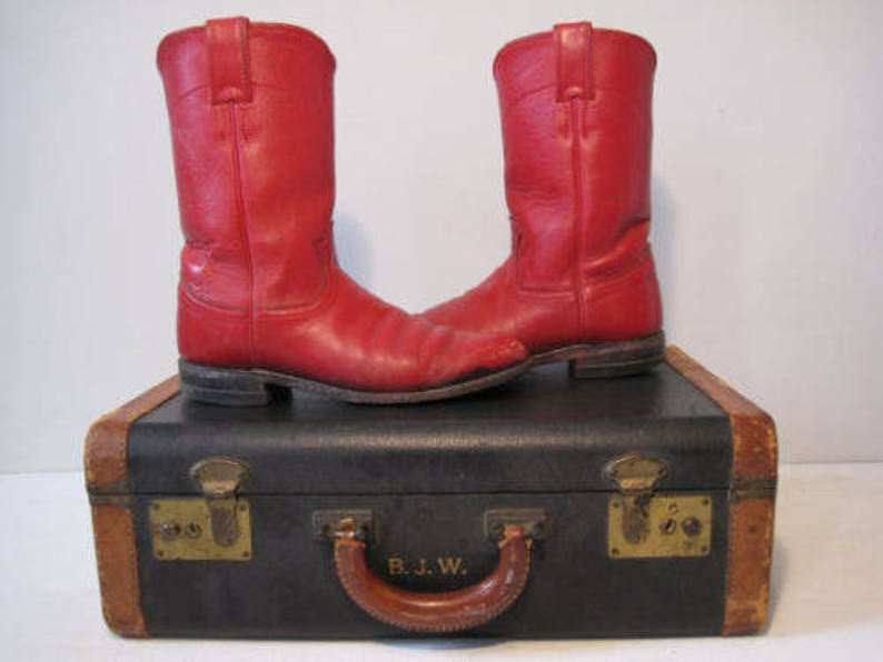 30e99149d74 Vintage JUSTIN Cowboys Boots Size 6.5 C Womens Western Red Leather BT883