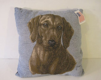 """Decorative Cushion Pillow DOG by Manual Woodworkers and Weavers 17""""x17"""" E1090"""