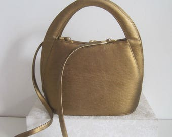 Womens Vintage Handbag Purse Small Matt Bronze Kiss Lock New A1903