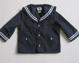 GOOD LAD Boys Sz 12M Baby Nautical Sailor Navy Marine Top Shirt VINTAGE Anchor Buttons A1908