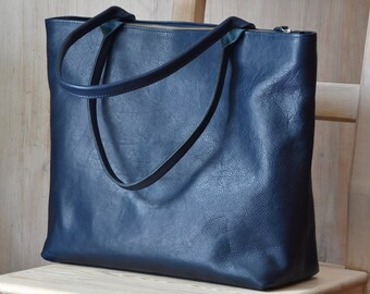 Tote Bag With Pockets - MIA Navy Blue - Leather Tote Bag, Leather Tote, Leather Laptop Bag, Leather Bag Women, Leather Bag, Leather Purse