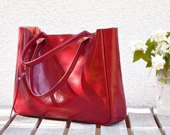 Leather Tote Bag BELLA Ferrari Red Shoulder Bag Leather Purse Laptop Bag Women Custom Tote Bag Leather Laptop Bag Leather Handbag Tote Bag
