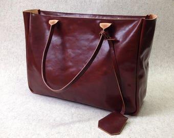 Brown Leather Tote – BELLA VOLUME Cognac Brown - Leather Tote - Leather Laptop Bag - Leather Briefcase - Tote Bag With Pockets - Tote Bag
