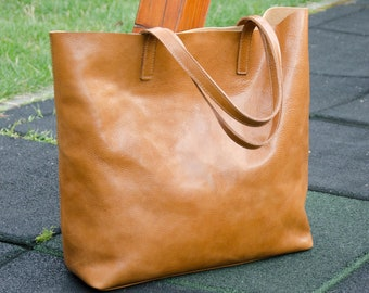Leather Tote LENA Camel Brown Leather Tote Bag Leather Laptop Bag Shoulder Bag Shopping Bag Tote Bag Tote Bag With Pockets Leather Handbag