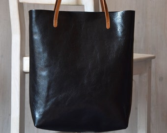 Black Leather Tote Bag – MINIMAL CHIC in Black - Medium Size Handmade Leather Tote - Black Leather Bag