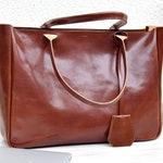 Brown Leather Tote - BELLA VOLUME - Cognac Brown Leather Tote - Leather Laptop Bag - Tote Bag With Pockets - Brown Tote Bag - Shoulder Bag