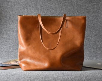 Tote Bag With Zipper Handmade Camel Brown Leather Tote Bag Zipper Tote Bag Tote Bag With Pockets Leather Tote Leather Tote Bag