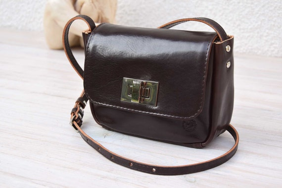 f464e94dd3c Small Leather Cross Body Bag MIMI Chocolate Brown   Etsy