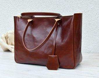 Brown Leather Tote BELLA VOLUME Cognac Brown Leather Tote Leather Laptop Bag Leather Briefcase Tote Bag With Pockets Tote Bag Shoulder Bag