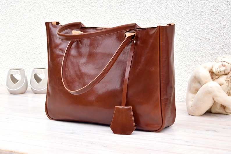 Leather Tote  BELLA Cognac Brown  Medium Size Brown Leather image 0