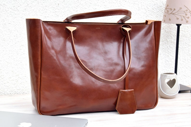 Brown Leather Tote  BELLA VOLUME  Cognac Brown Leather Tote image 0